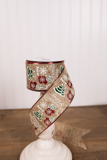 Jute and Multicolor Happy Holidays Christmas Ribbon