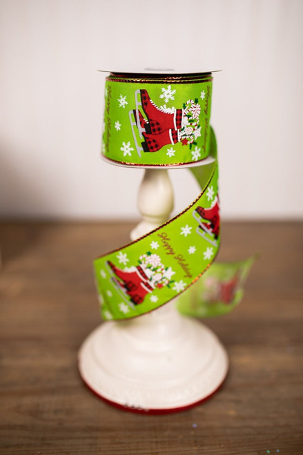 Green and Red Ice Skates Holiday Christmas Tree Ribbon