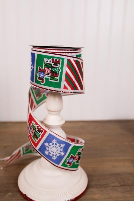 Multicolor Joy, Love, and Peace Christmas Tree Ribbon