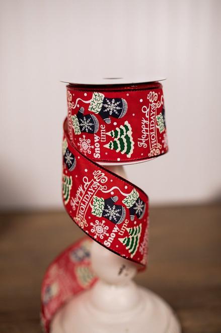 Red Whimsical Happy Holidays Christmas Ribbon