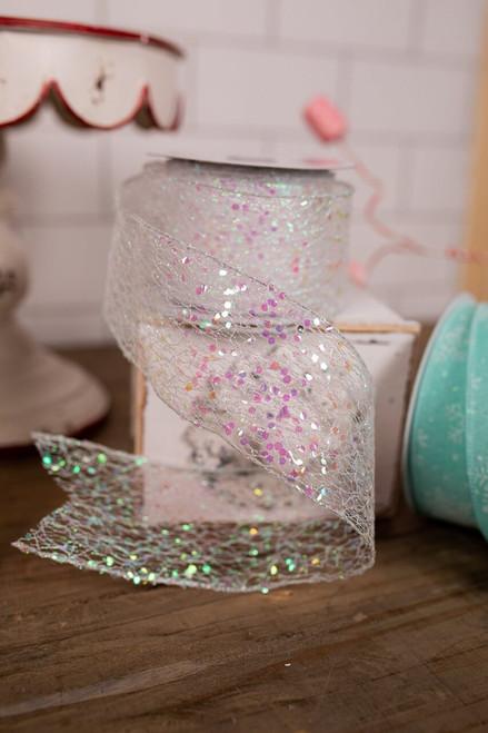 "2.5"" x 10 Yard White Glitter Holiday Christmas Ribbon"