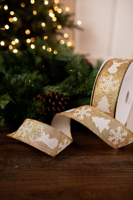 Large Gold and White Glitter Christmas Tree Ribbon