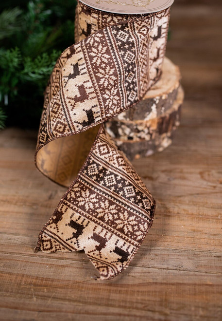Brown and Beige Deer Holiday Ribbon