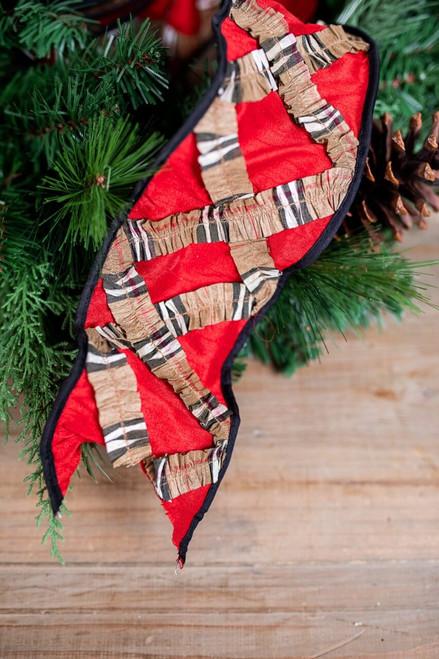 Red Plaid Cross Christmas Ribbon