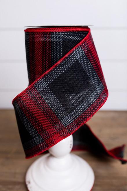 Red and Black Linen Plaid Christmas Ribbon