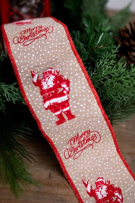 Santa Merry Christmas Jute Christmas Ribbon