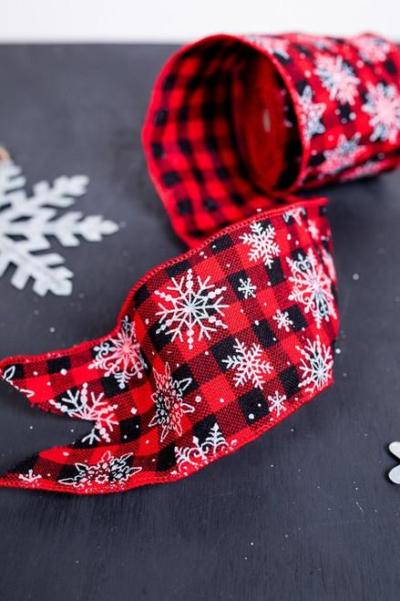 Red and Black Buffalo Check Snowflake Christmas Ribbon