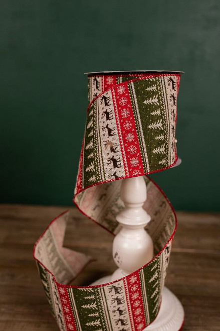 Green, Red, and Beige Rustic Holiday Christmas Tree Ribbon