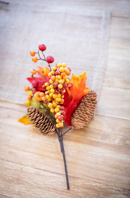 Fall Berry Cluster Leaf Pinecone Pick