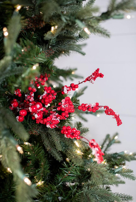 """18"""" Red Snow Berry Pick Christmas Tree Sprays"""
