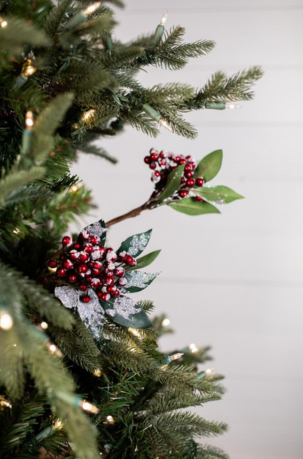 "26"" Burgundy Snow Cluster Berry Christmas Tree Spray"