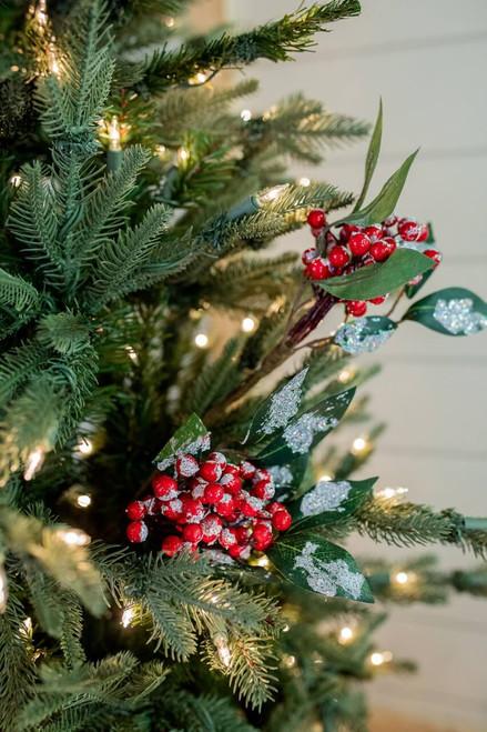 Red Snow Berry Cluster Christmas Tree Sprays