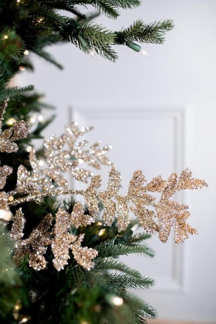 "32"" Eyelash Glitter Acanthus Leaves Christmas Tree Sprays"