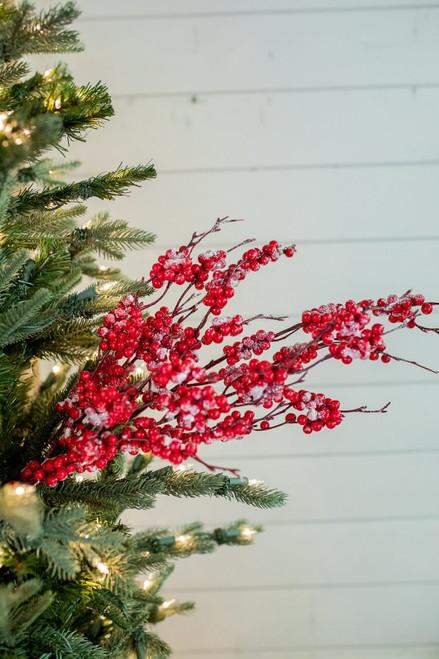 """32"""" Red Snow Berry Christmas Tree Sprays"""