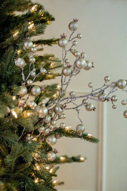 """38"""" Champagne Gilded Frosted Crabapple Christmas Tree Sprays"""