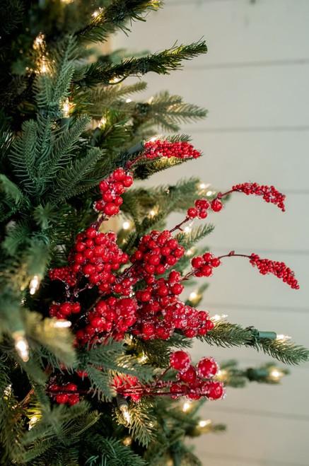 Red Iced Dew Berry Christmas Tree Sprays