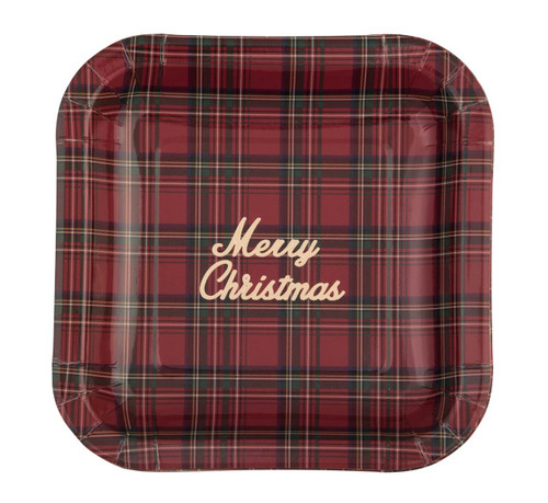 """Paper Christmas Plaid 8"""" Plate with Gold Foil"""