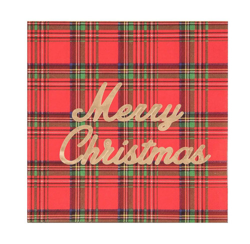 Paper Christmas Plaid Napkin with Gold Foil