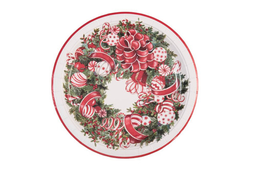 """Paper Christmas Wreath 9"""" Plates - Set of 8"""