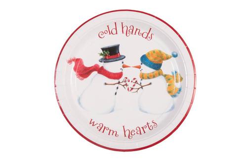 "Paper Snowman 9"" Plate"