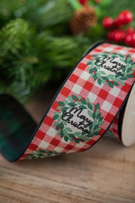 """2.5"""" x 10 Yard Merry Christmas Holiday Plaid Ribbon"""