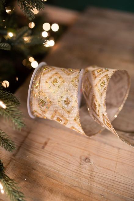 "2.5"" X 10 Yard Bejeweled Gold Diamond Patterned Christmas Ribbon"