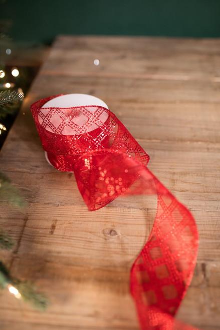 "2.5"" X 10 Yard Classic Red Glitter Christmas Ribbon"