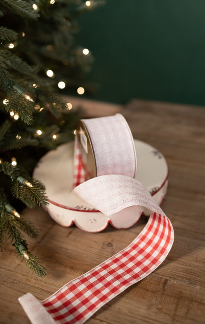 "2.5"" X 10 Yard Eyelash Check 2-Sided Christmas Ribbon"