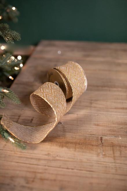 "2.5"" X 10 Yard Linen Glitter Diamond Christmas Ribbon"