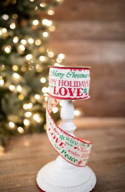 """2.5"""" X 10 Yard Red Patterned Happy Holidays Merry Christmas Love Ribbon"""