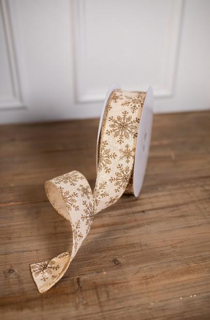 """2.5"""" X 50 Yard Gold Snowflake Christmas Ribbon"""
