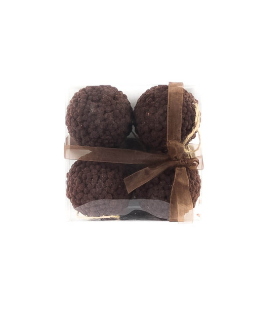10cm Brown Ball Ornament - Set of 4