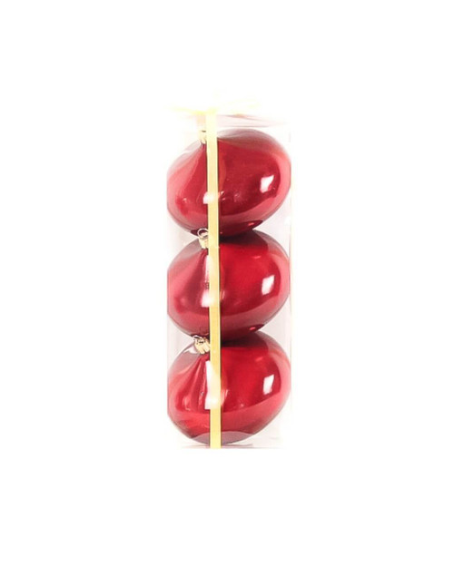 10cm Lacquer Onion Burgundy Ball Ornament - Set of 3