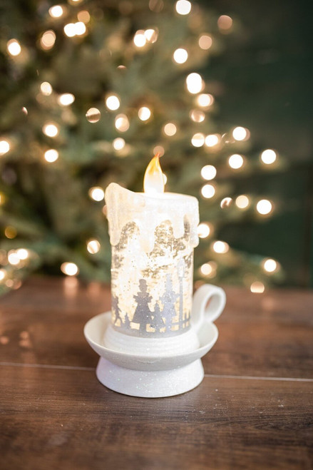 """7.75"""" Lighted Spinning Water Candle with Winter Scene"""