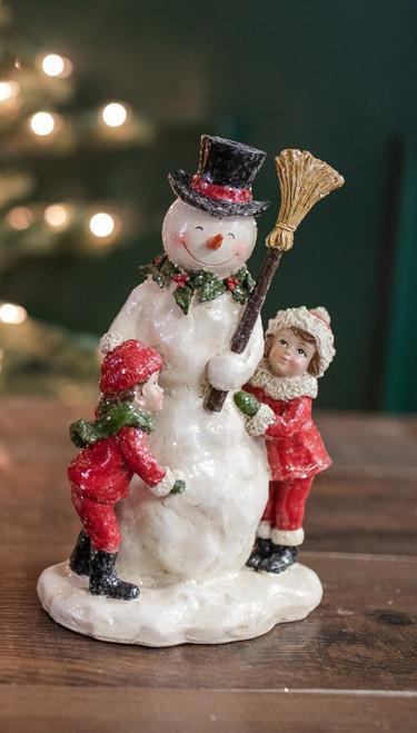 """9"""" Resin Vintage Kids Hugging Snowman with Broom"""