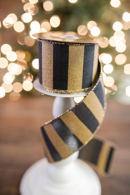 "2.5"" X 10 Yard Black and Gold Linen Striped Ribbon"