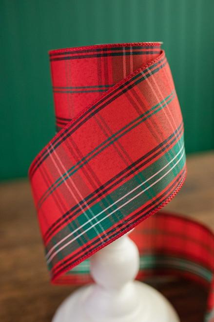 "4"" X 10 Yard Red and Green Linen Plaid Christmas Ribbon"