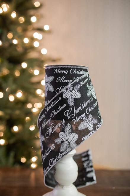 """4"""" X 10 Yard Merry Christmas Ribbon - Black"""