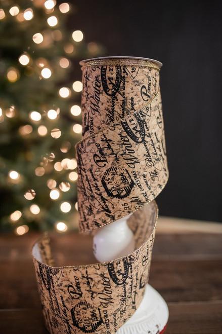"""4"""" X 10 Yard Cork Merry Christmas Ribbon"""