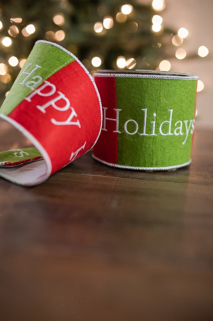 "4"" X 5 Yard Felt Happy Holiday Ribbon"