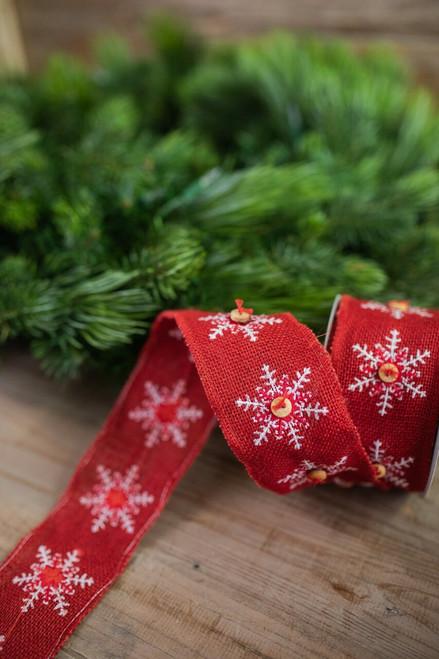 Snowflake/Button Burlap Ribbon - Red