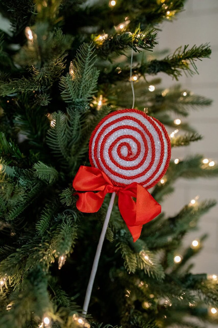 """12"""" Sugar Corded Lollipop Pick/Ornament with Bow - Red/White"""