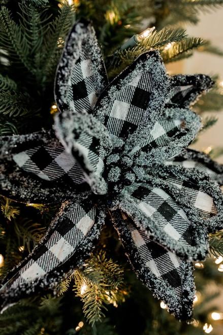 "24"" Frost Edge Buffalo Check Poinsettia Christmas Tree Flower"