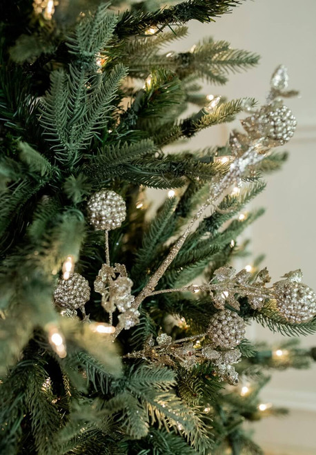 """25"""" Glitter Sequin Sweet Gumball Leaf Christmas Sprays - Champagne"""