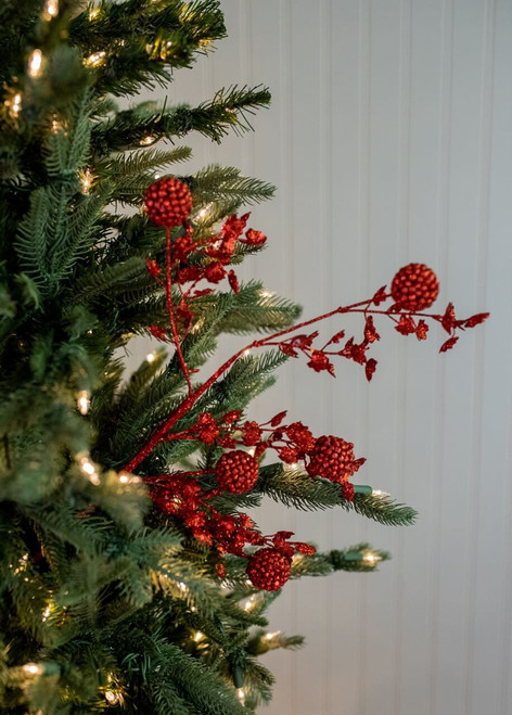 """25"""" Glitter Sequin Sweet Gumball Leaf Christmas Tree Spray Red"""
