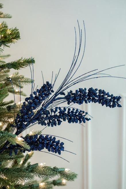 "27"" Glitter Mini Berry Grass Christmas Tree Sprays - Midnight Blue"
