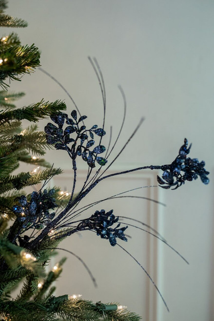 "27"" Glitter/Sequin Boxwood Grass Christmas Tree Sprays - Midnight Blue"