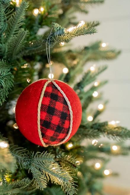 "4"" Red and Black Buffalo Check Ball Christmas Ornaments"