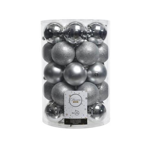 8cm Silver Shatterproof Christmas Ornaments - Set of 34