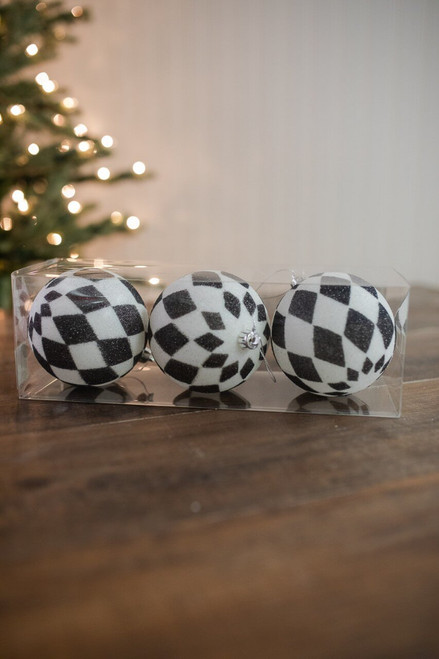 10cm Black and White Glitter Harlequin Ball Christmas Tree Ornaments